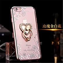 iphone 6 Plus TPU Case,Secret Garden Butterfly Floral Bling Swarovski Rhinestone Diamond Love Heart 360 Rotating Ring Stand Holder for Apple iphone 6/6S Plus 5.5inch(Rose Gold-White Flower)
