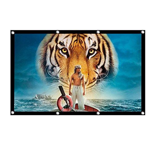 UTSLIVE 120 Inches 16:9 Simple Projector Screen Polyester Portable Foldable Wall Mounted Cinema Front and Rear Projection Screen For Home Theater Outdoor Office Classroom Movie Rear Projection Systems