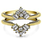 TwoBirch Vintage Fan Style Ring Guard with Millgrained Edges and Filigree Design with 0.43 carats of Cubic Zirconia in Yellow Plated Sterling Silver