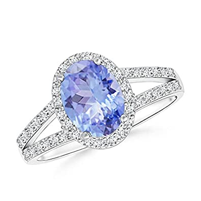 Angara Tanzanite and Diamond Split Shank Ring in 14k Yellow Gold Srmi78s