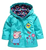 Cartoon Peppa Pig Flower Baby Girls Kids Rain Coat Jacket Coat Hoodie Outwear 2-3T Blue