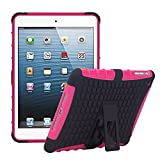 TKOOFN Heavy Duty Silicon Defender Multilayer Protective Skin Military Bumper Antislip Case Cover with Built in Stand for Apple iPad Mini (1st Gen) + Screen Protector + Stylus + Cleaning Cloth, Pink - PT7004