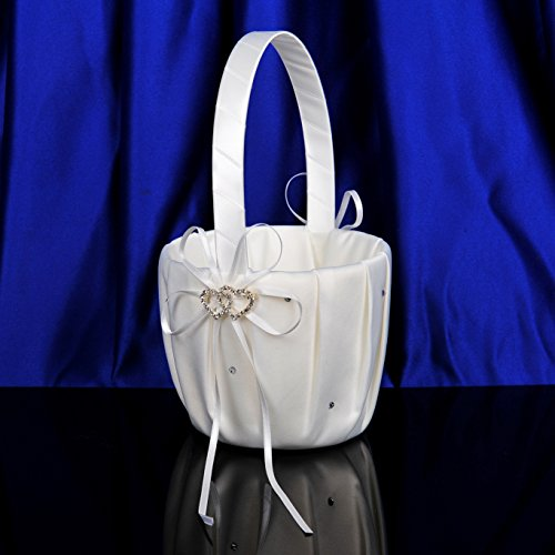 AWEI Ivory Satin Flower Girl Basket - Wedding Ceremony Party Decoration with Double Heart ()