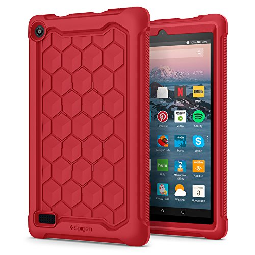 Spigen Silicone Case Designed for All-New Fire 7 Tablet Case (7th Generation 2017 Release Only) - Red