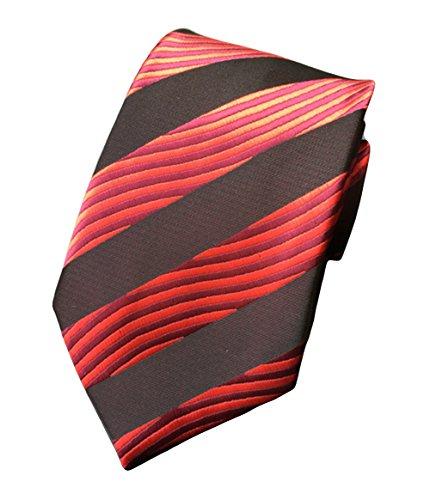 Collegiate Tie (MENDENG Large Striped Yellow Black Red Blue Silk Men Tie Business Party Necktie)