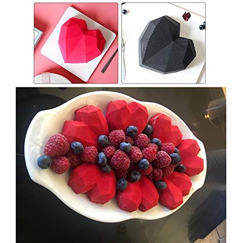 Dasaba 1PCS Silicone Baking Molds 3D Diamond Love Heart Shaped Silicone Mold Tray Non-stick Reusable Chocolate Mold for Baking Cake, Cookies, Oreo, Muffin Cupcake Handmade Soap (White)