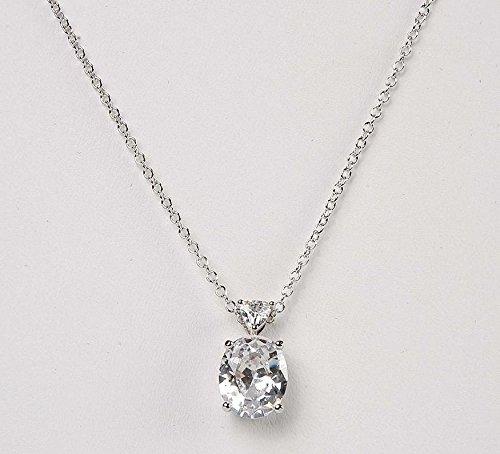 Avon Necklace Oval (Clear Oval Fancy Shape CZ And Trillion Pendant Necklace)