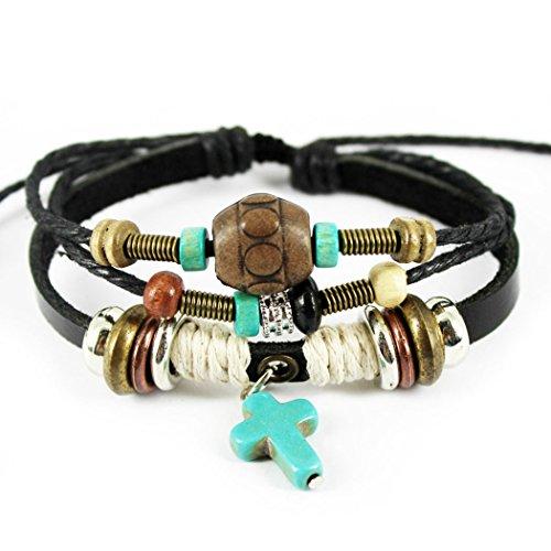 MORE FUN Turquoise Cross Pendant Black Handmade Leather Wrap Bracelet, Adjustable