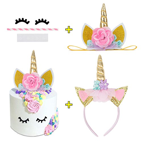 with Eyelashes and Unicorn Headband Gold Glitter Flowers Ears Headbands for Party Decoration or Cosplay Costume,Birthday Party, Baby Shower and Wedding Party (Eyelash Ribbon)