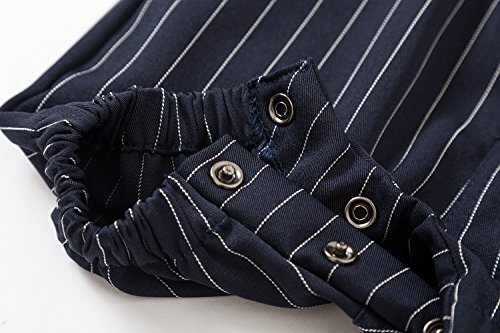 Baby Boys Gentleman Jumpsuit Outfits Suits Bow Tie Overalls Clothes Set (0-6Months, Blue) by Baby Love (Image #3)'