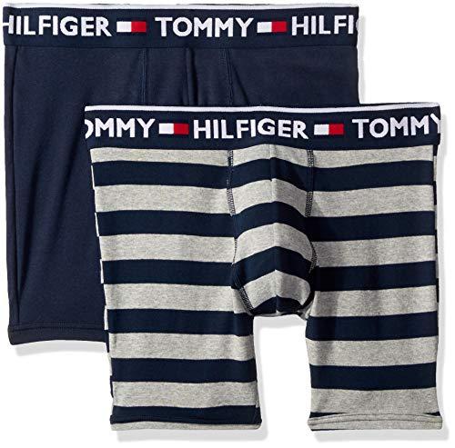 (Tommy Hilfiger Men's Underwear 2 Pack Bold Cotton Boxer Briefs, Gray Multi, Medium)