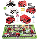 """Kilpkonn Fire Truck Toys with Play Mat,Fire Vehicles Set Include 6 Fire Engines, 4 Road Signs, 14"""" x 18"""" Fire Rescue Playmat, Mini Pull Back Car Toys,Perfect Car Party Favors Gift"""