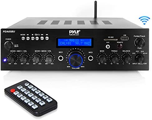 Wireless Bluetooth Power Amplifier System – 200W Dual Channel Sound Audio Stereo Receiver w USB, AUX, MIC in w Echo, Radio – for Home Theater Entertainment via RCA, Studio Use – Pyle PDA65BU