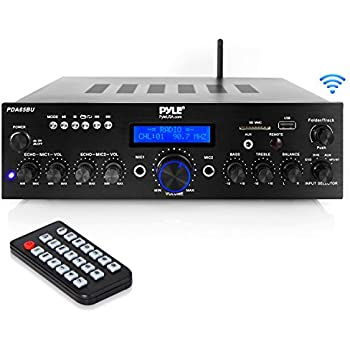 Wireless Bluetooth Power Amplifier System - 200W Dual Channel Sound Audio Stereo Receiver w/ USB, AUX, MIC in w/ Echo, Radio - for Home Theater ...