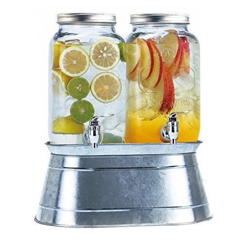 Simple Flow Double Glass Mason Jar Drink Dispensers 3.5 L...