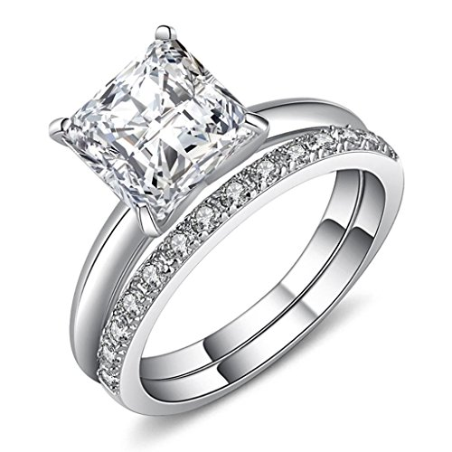 Castillna Sterling Silver Princess Cut Cubic Zirconia Wedding