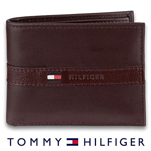 Tommy Hilfiger Men's Leather Wallet - Thin Sleek Casual Bifold with 6 Credit Card Pockets and Removable ID Window, Dark Brown (Leather Box Valet Mens)