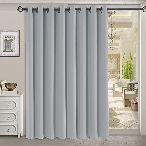 RHF Funtion Curtain-Wide Thermal Blackout Patio door Curtain Panel, Sliding door insulated curtains,Extra Wide curtains,vertical blinds,Grommet curtains&Gray curtains/Grey 100W by 84L (Vertical Fashion)