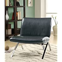 Monarch Specialties Black Leather and Chrome Modern Accent Chair