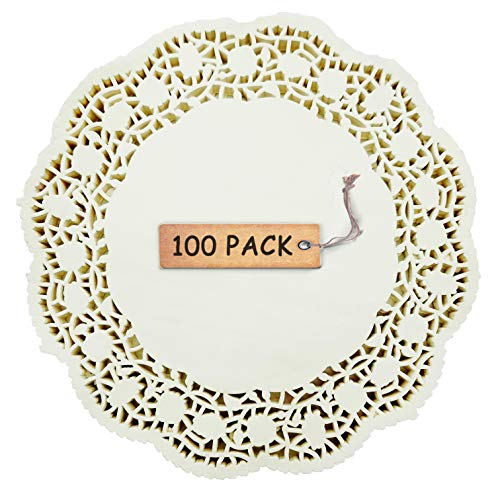 - SCHOLMART Floral Beige Off White Paper Doilies for a Tea Party, Birthday or Baking, Embossed Pattern 6.5
