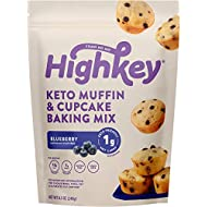 HighKey Keto Blueberry Muffin Mix - Low Carb, Gluten Free Food - No Sugar Added Snacks - Cupcake Breakfast Foods - Ketogenic Snack, Dessert Sweets - Paleo & Diabetic Diet Friendly Treats - 12 Muffins