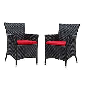 Deco 2piezas al aire libre Patio juego de mesa y sillas de comedor en Espresso rojo