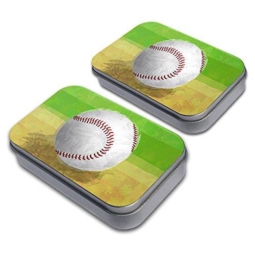 Baseball Decorative Craft Trinket Metal Tin Box Set of 2 (Trinket Tin)