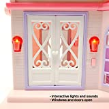 Boley Pretend Play Doll House Toy - 21 Piece Collapsible Dollhouse, a Perfect Childrens Toy with Kitchen Accessories, Light and Sound, Wallpaper, and More!