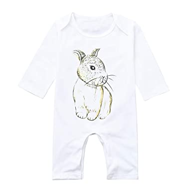 108fae938 Amazon.com: Kehen Infant Newborn Baby Girl Boy Spring Outfit Cotton Romper  Long Sleeve Jumpsuit Rabbit Print Easter Gift: Clothing