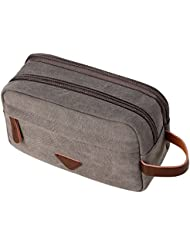 90795d6c8942 Mens Travel Toiletry Bag Canvas Leather Cosmetic Makeup Organizer Shaving  Dopp Kits with Double Compartments (