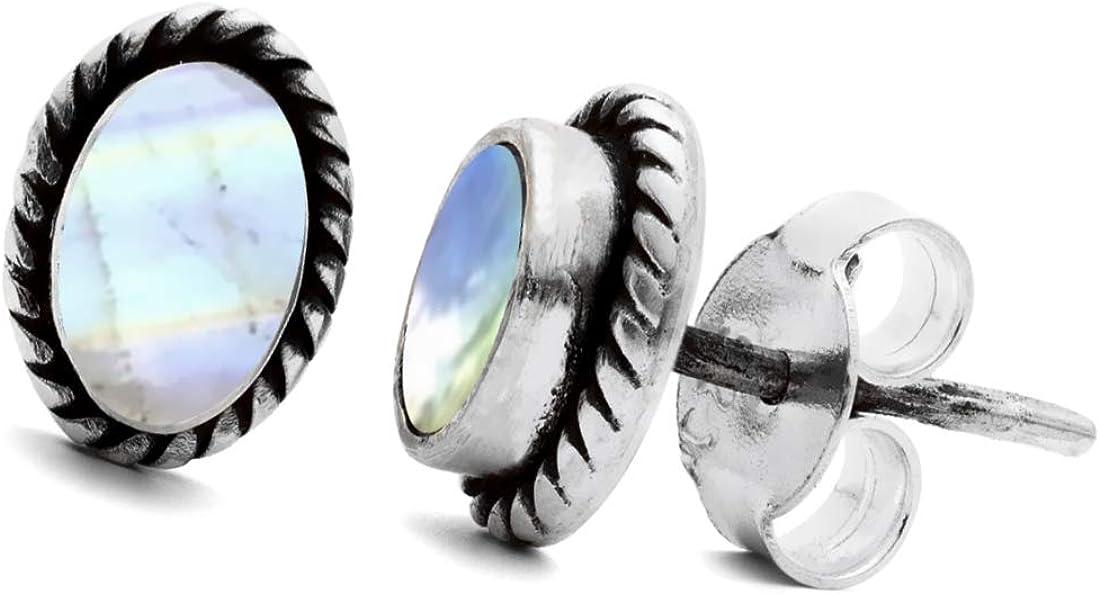 Unique pendientes para la mujer clásico piedra de luna oval plata de ley 925 joyeria de calidad