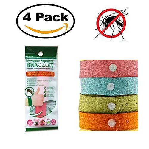 Pulseras Antimosquitos o Repelentes de Insectos y Mosquitos para Bebés, Niños y Adultos en Microfibra 4 Piezas 100% Aceites...