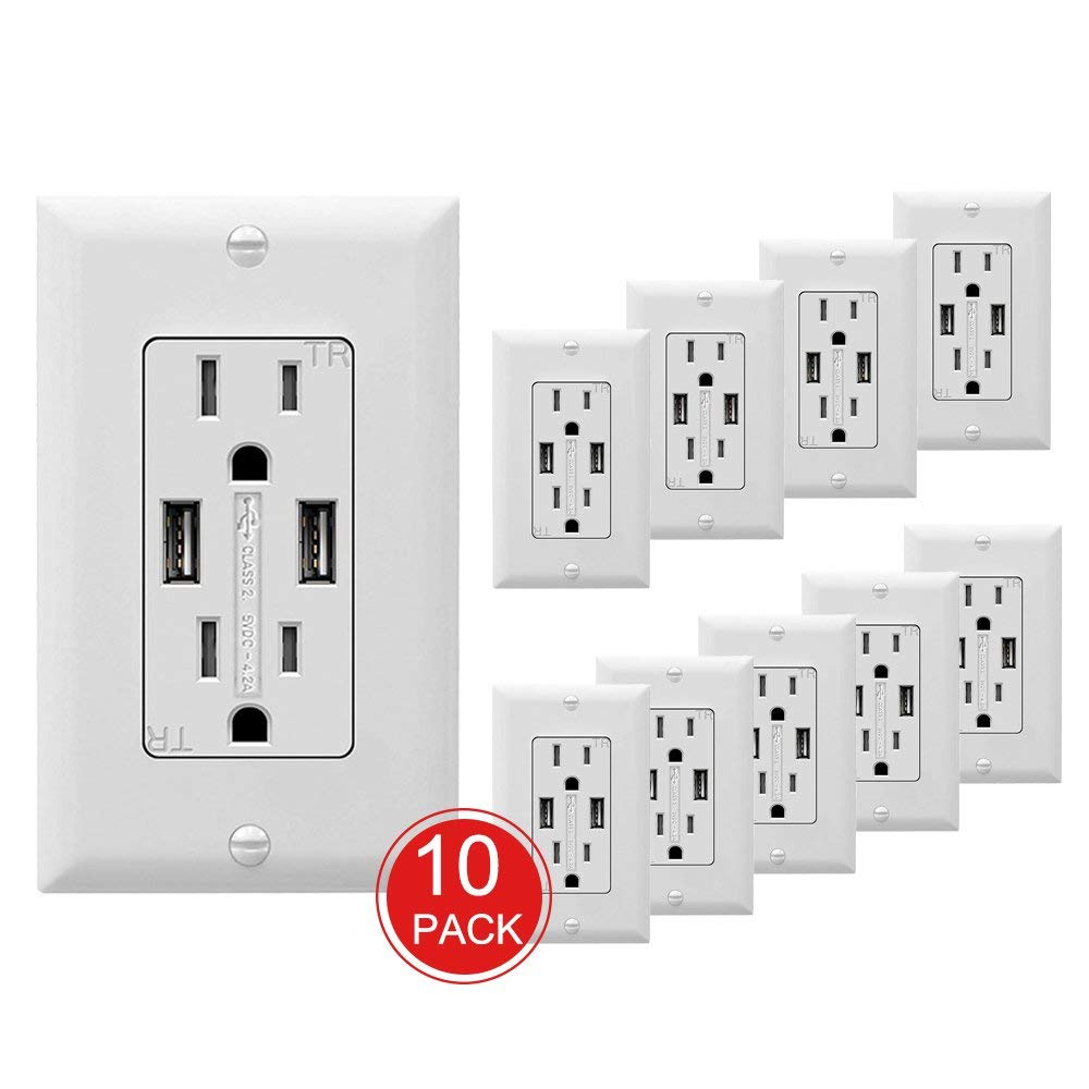 SZICT USB Outlet Receptacle, 10 Pack UL-listed 4.2A Ultra-fast USB Charging Receptacle 2 USB Ports Receptacle Charger, 15A TR Wall Receptacle Outlet with Wall Plate, White by SZICT (Image #2)