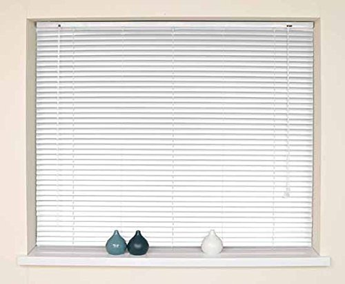 White, 180cm x 210cm Optimal Products Classic Easy Fit 25mm Aluminium Venetian Blind Home Office Blinds