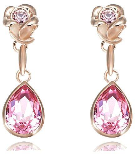 Fappac 18k Rose Gold Plated Teardrop Pink Crystal from Swarovski Flower Dangle Earrings by Fappac
