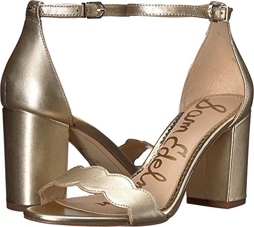 Sam Edelman Women's Odila Ankle Strap Sandal Heel Molten Gold Soft Metallic Sheep Leather 10 W US ()