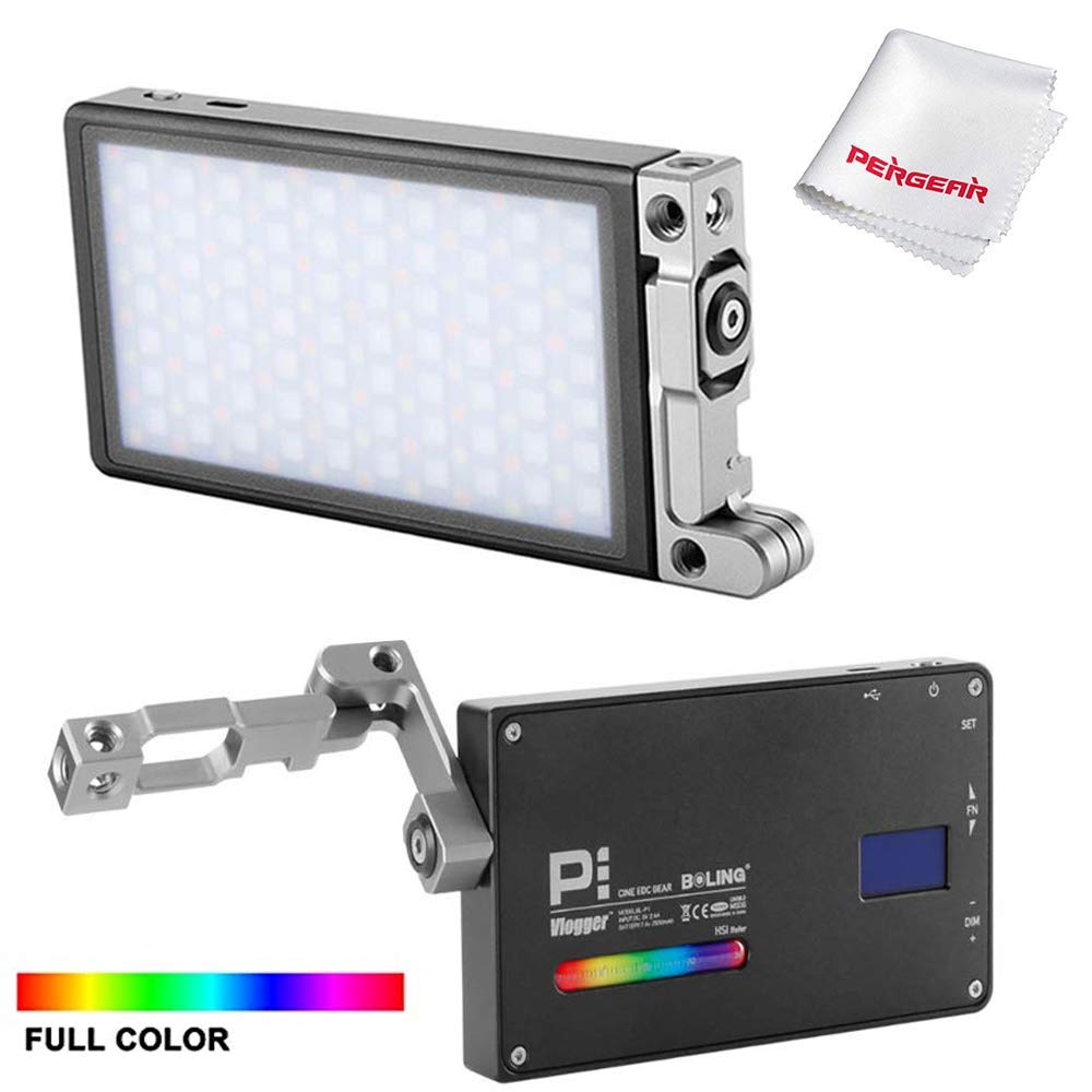 BOLING BL-P1 RGB Led Video Light, 3200-8500K Adjustable, 0-100% Stepless Dimming, CRI96 TLCT 97 RGB 0-360 Full Color, 9 Pre-Programmed Lighting Effect Mode, Temperature Control Protection System