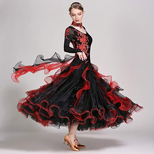 Moderna Cristalli Balli Wqwlf da strass Vestiti Black Competizione Valzer Ricamo Da xxl Sala Lunga Donna Dancewear Manica Addestramento Elastico Per Tulle Prestazioni S UqdqPxr