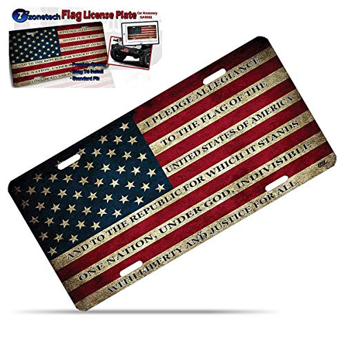 (Zone Tech Tactical USA Flag License Plate - Premium Quality Thick Durable Novelty American Patriotic Pledge of Allegiance )