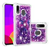 Miagon Liquid Clear Case for Samsung Galaxy A30,Soft Glitter Shockproof Cover Floating Bling Sparkle Shiny Heart Quicksand Liquid Clear Protective Case Cover-Purple Dreamcatcher
