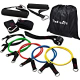 TheFitLife Exercise and Workout Resistance Bands - Training Tube Set Stackable up to 110 lbs for Indoor and Outdoor Sports, Fitness, Suspension, Speed Strength, Baseball Softball, Home Gym, Yoga