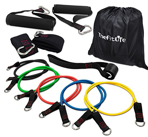 (TheFitLife Exercise and Workout Resistance Bands - Training Tube Set Stackable up to 110 lbs for Indoor and Outdoor Sports, Fitness, Suspension, Speed Strength, Baseball Softball, Home Gym, Yoga)