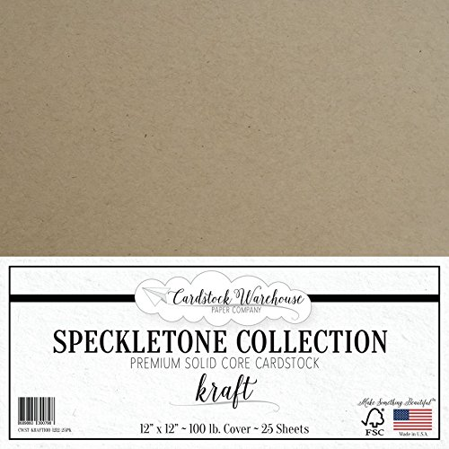 Cardstock 100 Recycled - Kraft SPECKLETONE Recycled Cardstock Paper - 12 x 12 inch - Premium 100 LB. Cover - 25 Sheets