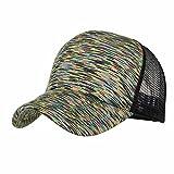 Sunyastor Summer Cap Camouflage Mesh Hats for Men Women Casual Hats Hip Hop High Bun Ponytail Adjustable Baseball Caps (A Green, One Size)