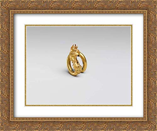 Cypriot Culture - 24x20 Gold Ornate Frame and Double Matted Museum Art Print - Gilt Bronze Spiral with Griffin Terminal