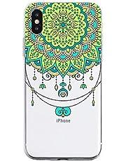 Oihxse Mandala Flores Encaje Patrón Serie Case Compatible con iPhone X/iPhone XS Funda TPU Silicona Suave Protector Ultra Slim Anti-Rasguño Transparente Carcasa (A2)