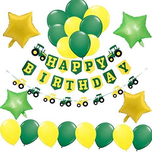 Farm Tractor John Deere Theme Party Decorations-1 Happy Birthday Banner, 1 Tractor Garland,4 Green and Yellow Mylar Balloons,16 Latex Balloons-Construction Supplies and Favors for Girls Boys Kids 1st 2nd 3rd - Deere You John Thank