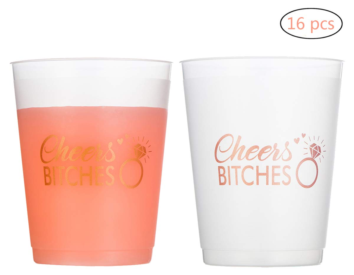 Miss Fantasy Bachelorette Party Cups Hen Party Supplies Bridal Shower Cup Engagement Party Decorations Bride to Be Gifts Frosted White Plastic Stadium Cups Pack of 16 (Rose Gold)