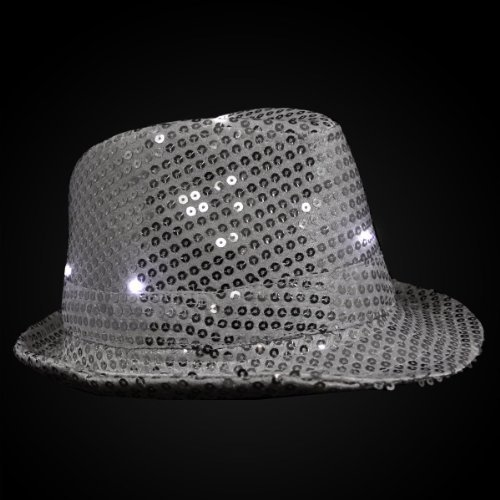 Sequin Fedora Hat (Light-up Hat -Silver Sequin Fedora with L.E.D. Lights! Trilby led Trilby Hats)