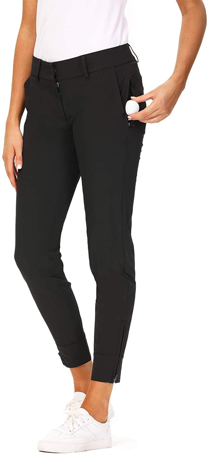 Hiverlay Womens pro Golf Pants Quick Dry Slim Lightweight Work Pants with Straight Ankle Also for Hiking or Casual Ladies